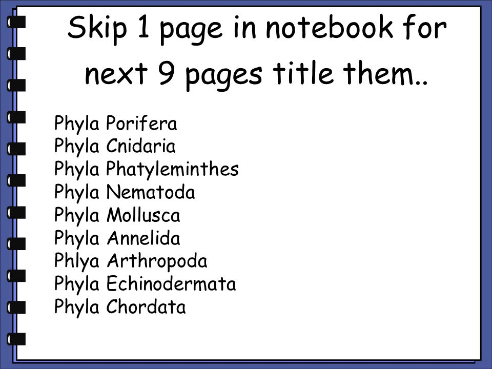 Skip 1 page in notebook for next 9 pages title them..