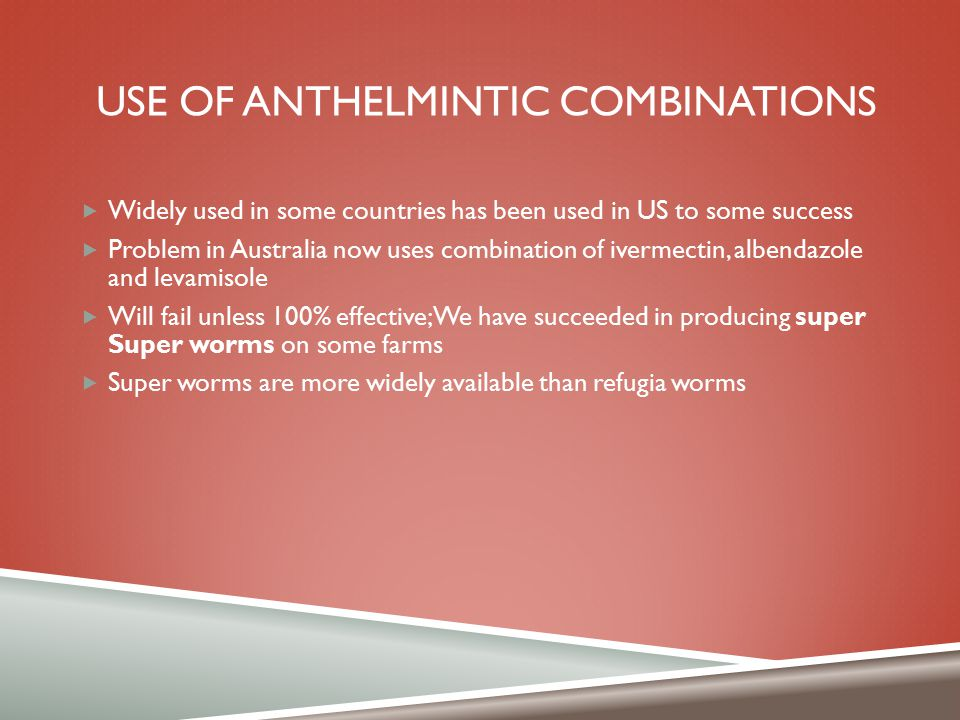 Use of anthelmintic combinations