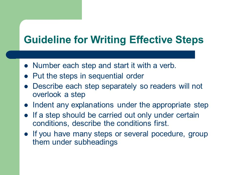 Guideline for Writing Effective Steps
