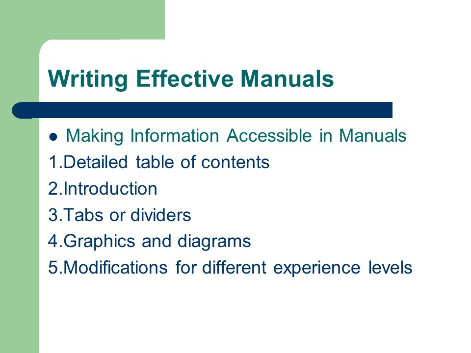 Writing Effective Manuals