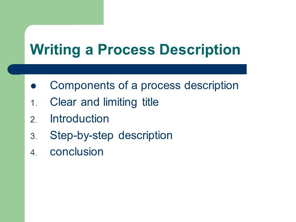 Writing a Process Description