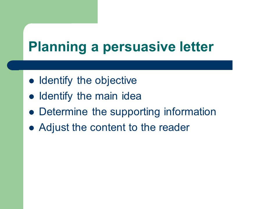 Planning a persuasive letter