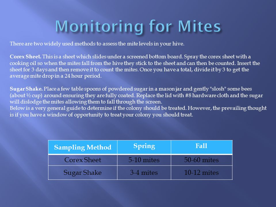 Monitoring for Mites Sampling Method Spring Fall Corex Sheet