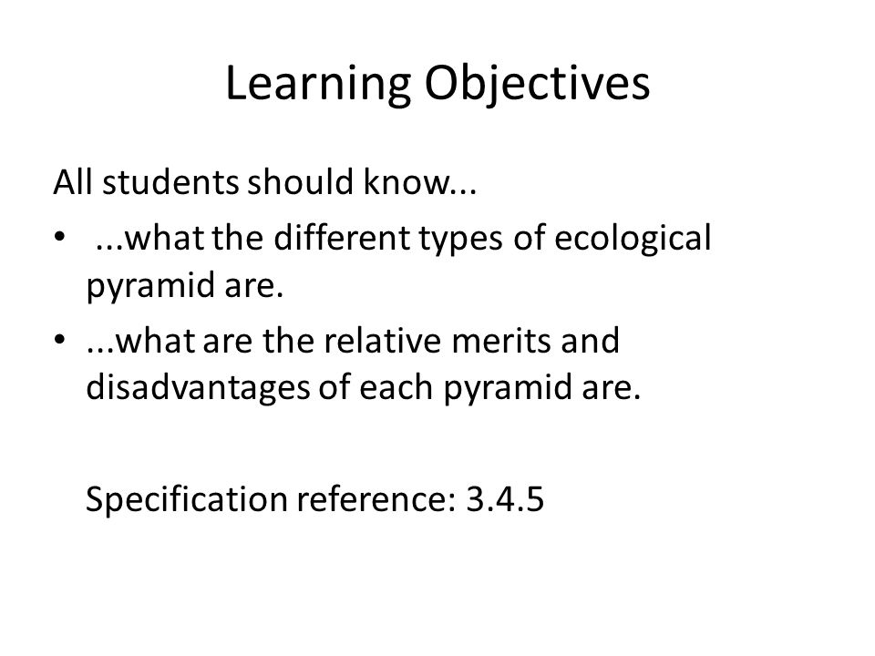Learning Objectives All students should know...