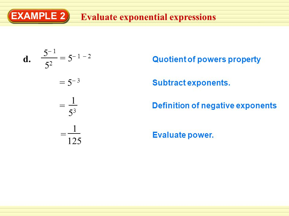 Evaluate exponential expressions