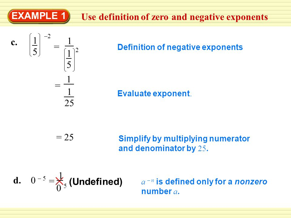 Use definition of zero and negative exponents