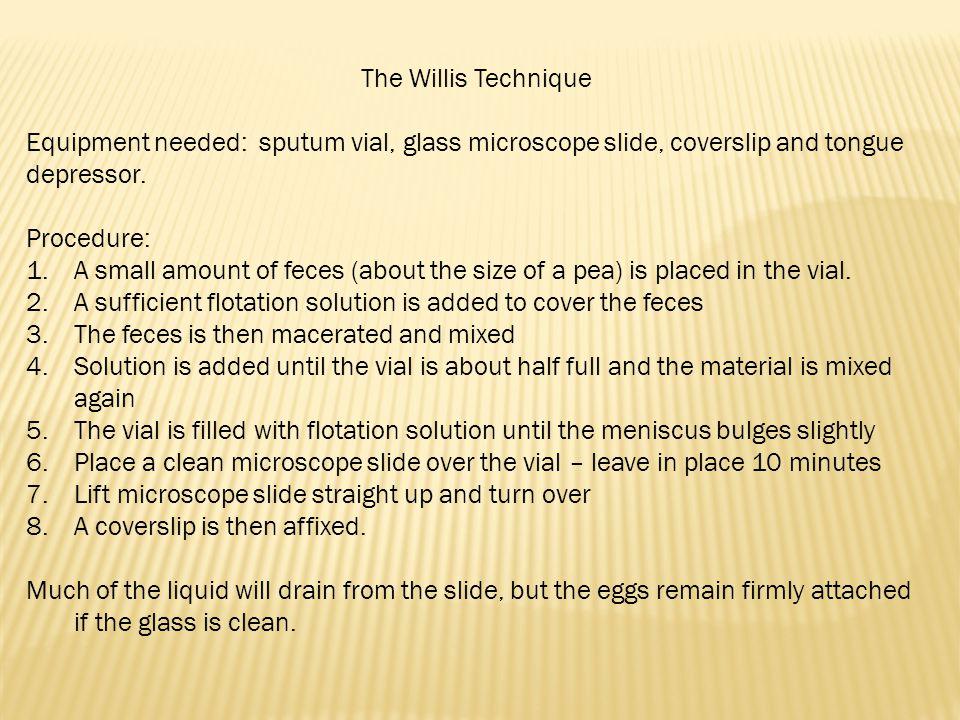The Willis Technique Equipment needed: sputum vial, glass microscope slide, coverslip and tongue depressor.