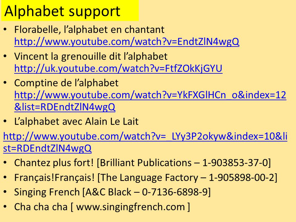 Alphabet support Florabelle, l'alphabet en chantant http://www.youtube.com/watch v=EndtZlN4wgQ.