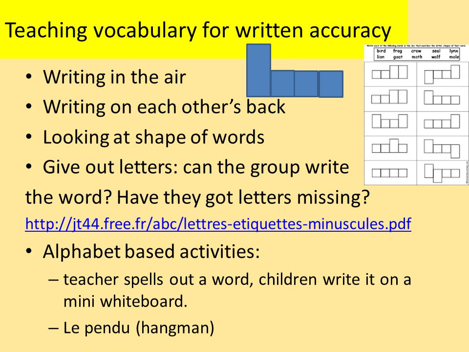 Teaching vocabulary for written accuracy