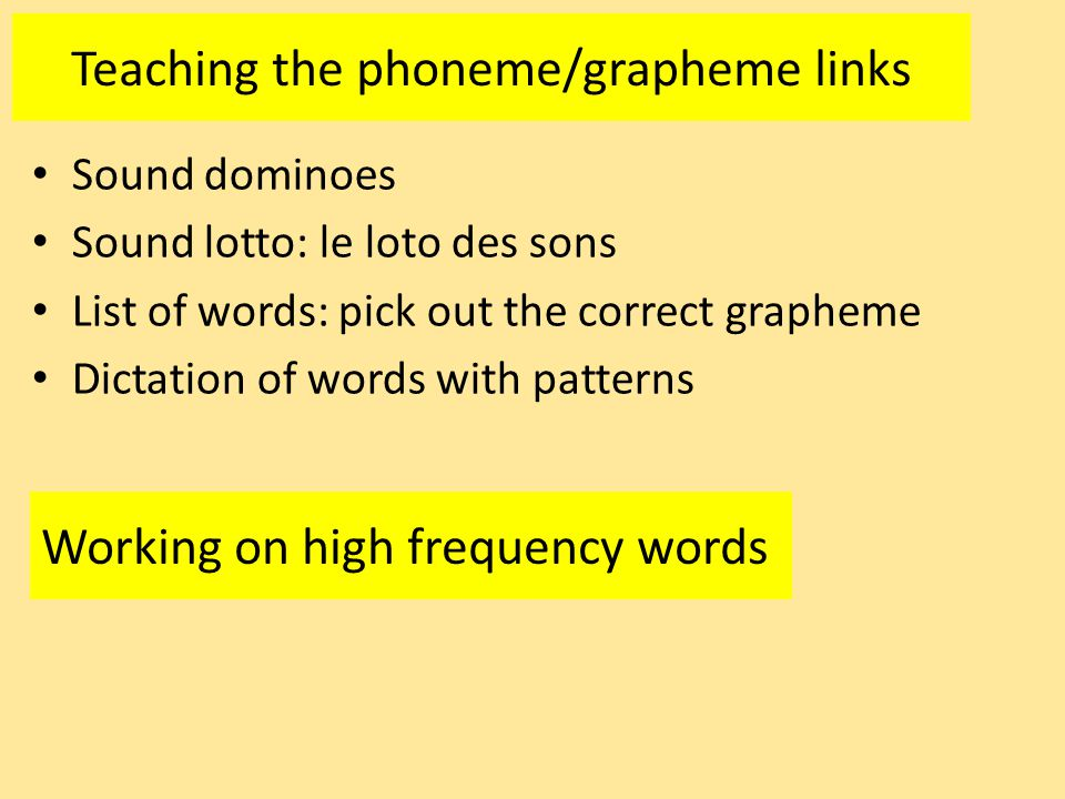 Teaching the phoneme/grapheme links