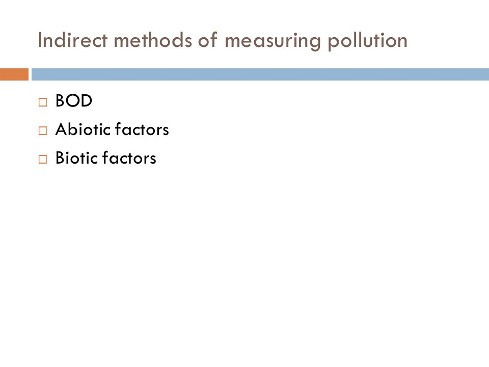Indirect methods of measuring pollution