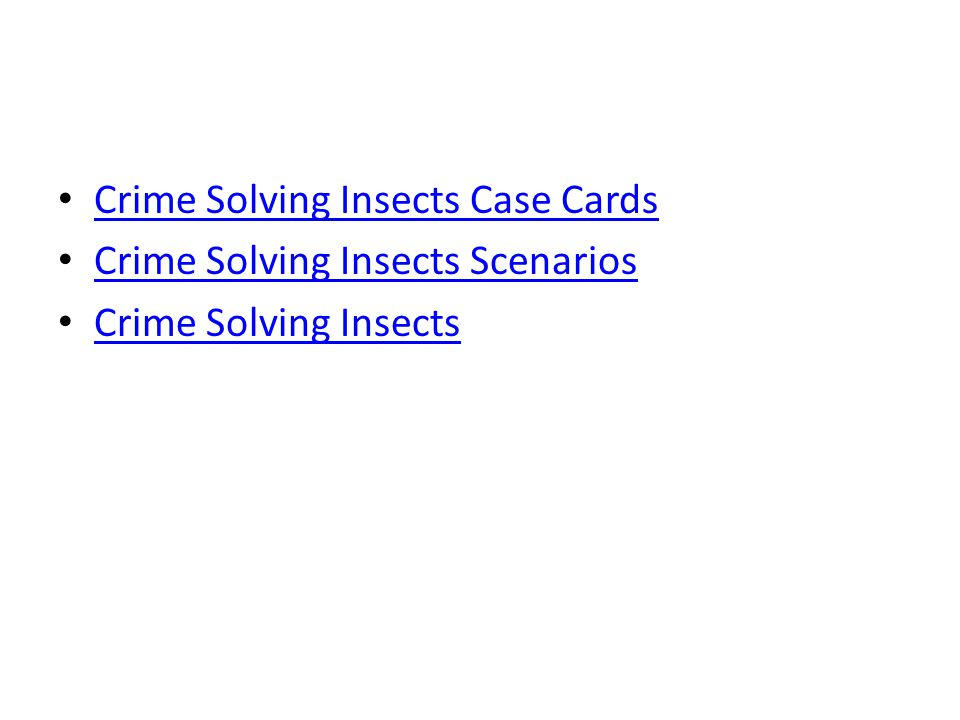 Crime Solving Insects Case Cards
