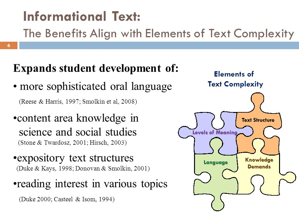 Informational Text: The Benefits Align with Elements of Text Complexity