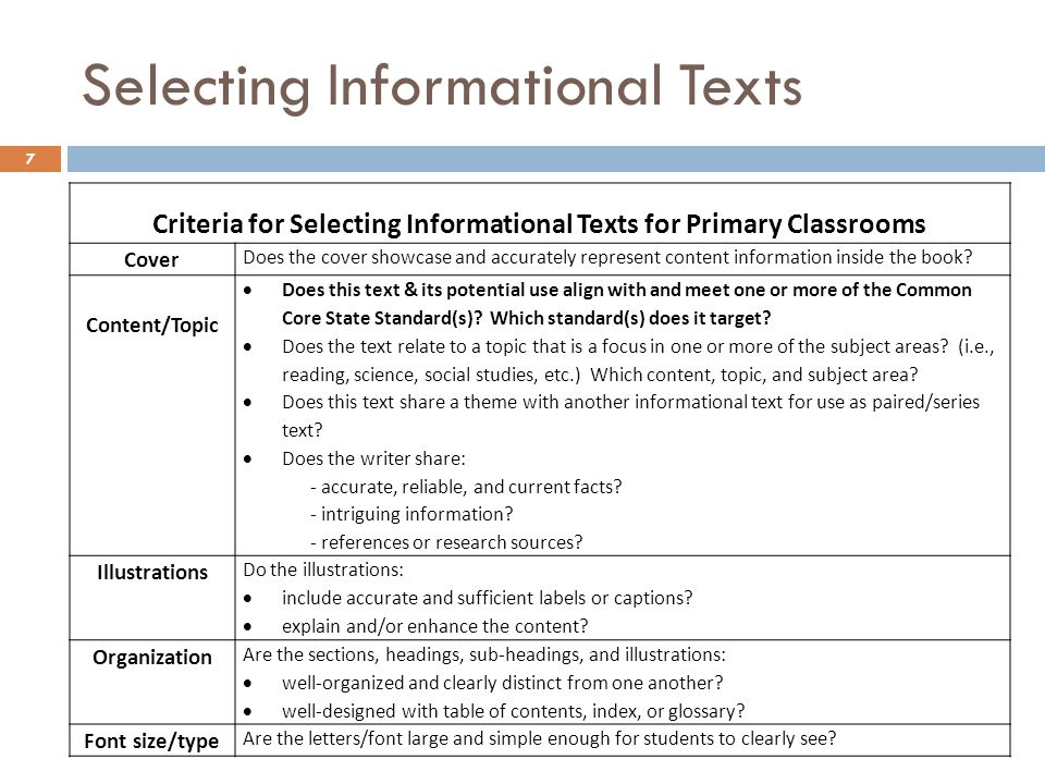 Selecting Informational Texts