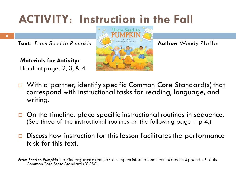 ACTIVITY: Instruction in the Fall