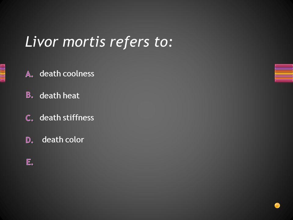 Livor mortis refers to: