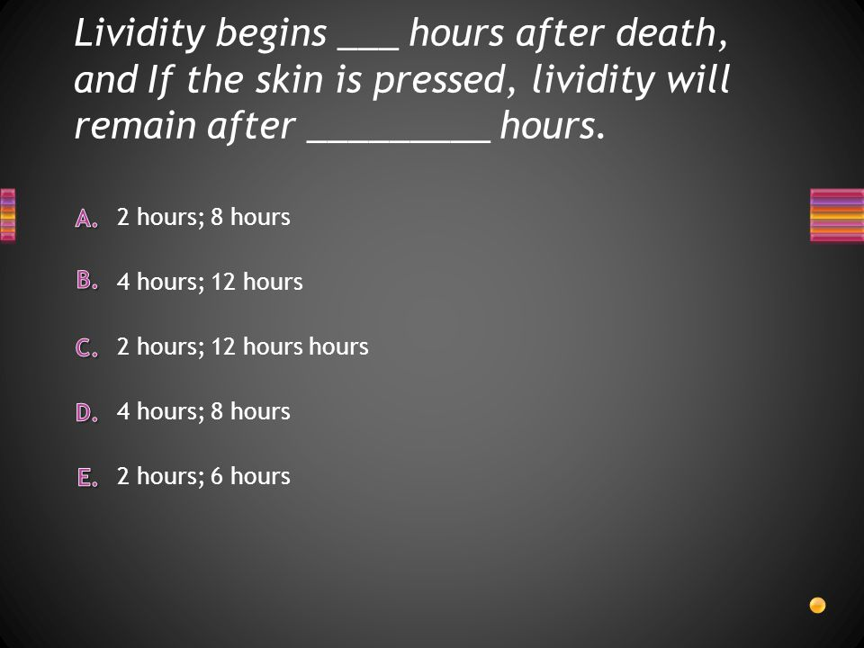 Lividity begins ___ hours after death, and If the skin is pressed, lividity will remain after _________ hours.