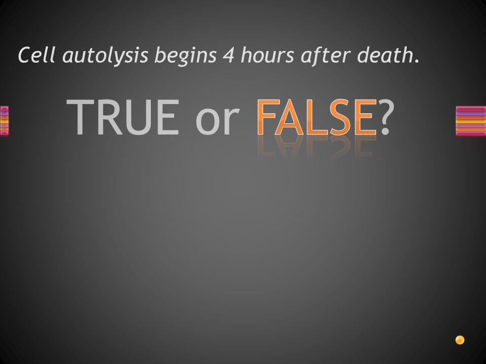 Cell autolysis begins 4 hours after death.