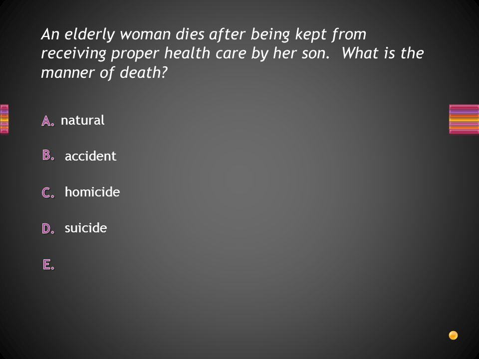 An elderly woman dies after being kept from receiving proper health care by her son. What is the manner of death
