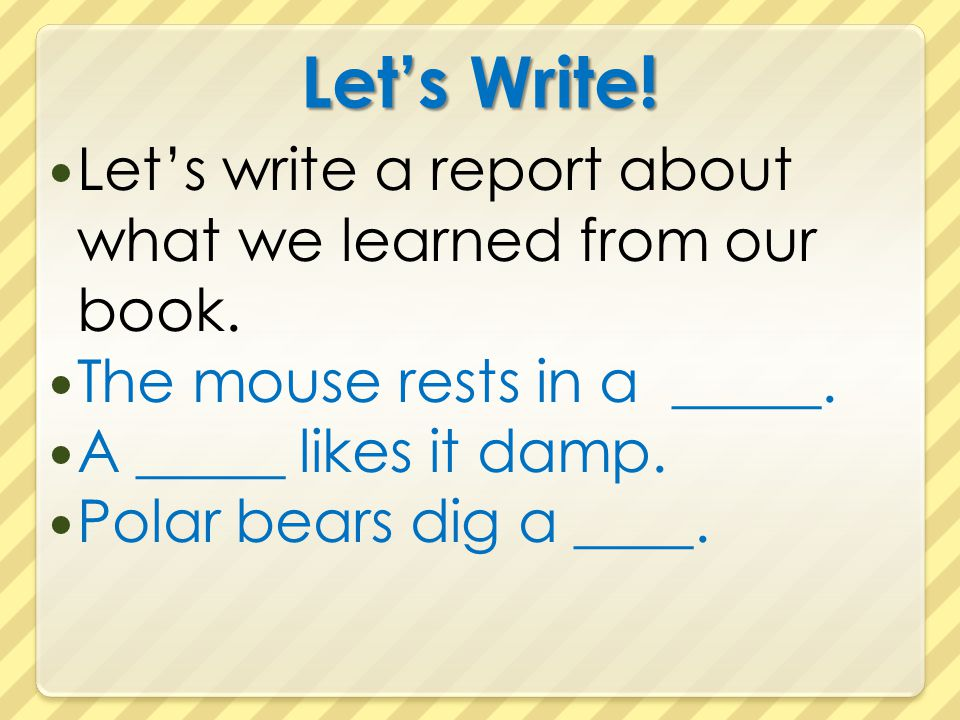 Let's Write! Let's write a report about what we learned from our book.