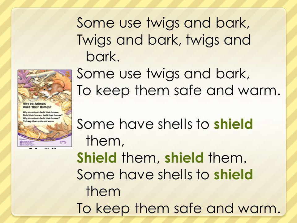 Some use twigs and bark, Twigs and bark, twigs and bark
