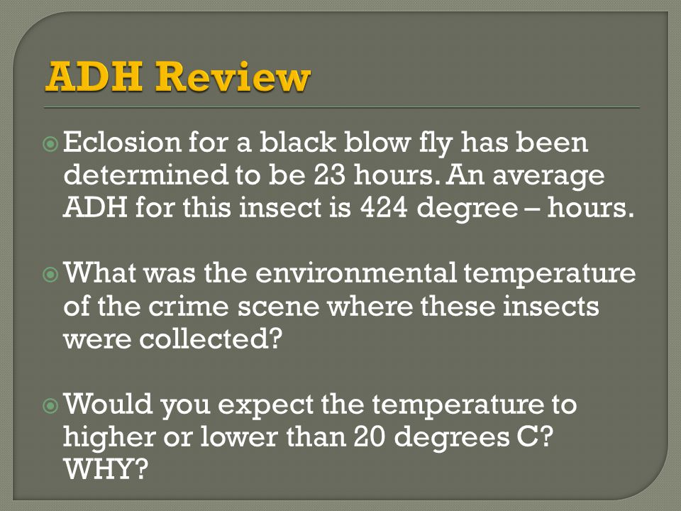 ADH Review Eclosion for a black blow fly has been determined to be 23 hours. An average ADH for this insect is 424 degree – hours.