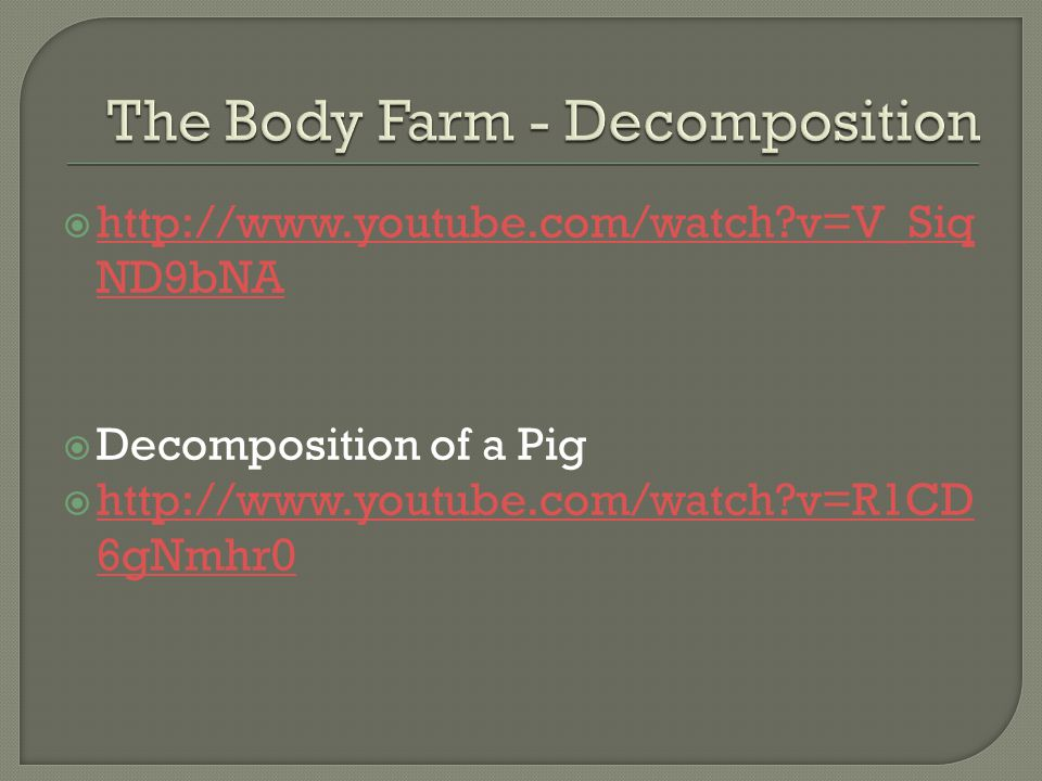 The Body Farm - Decomposition