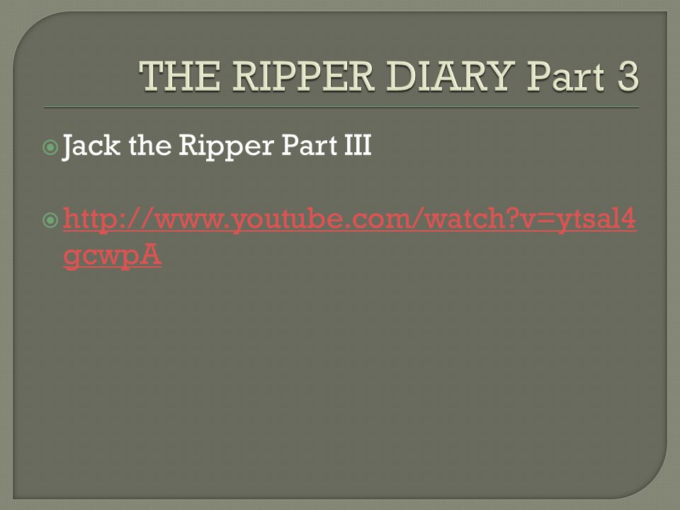 THE RIPPER DIARY Part 3 Jack the Ripper Part III