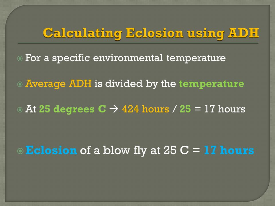 Calculating Eclosion using ADH
