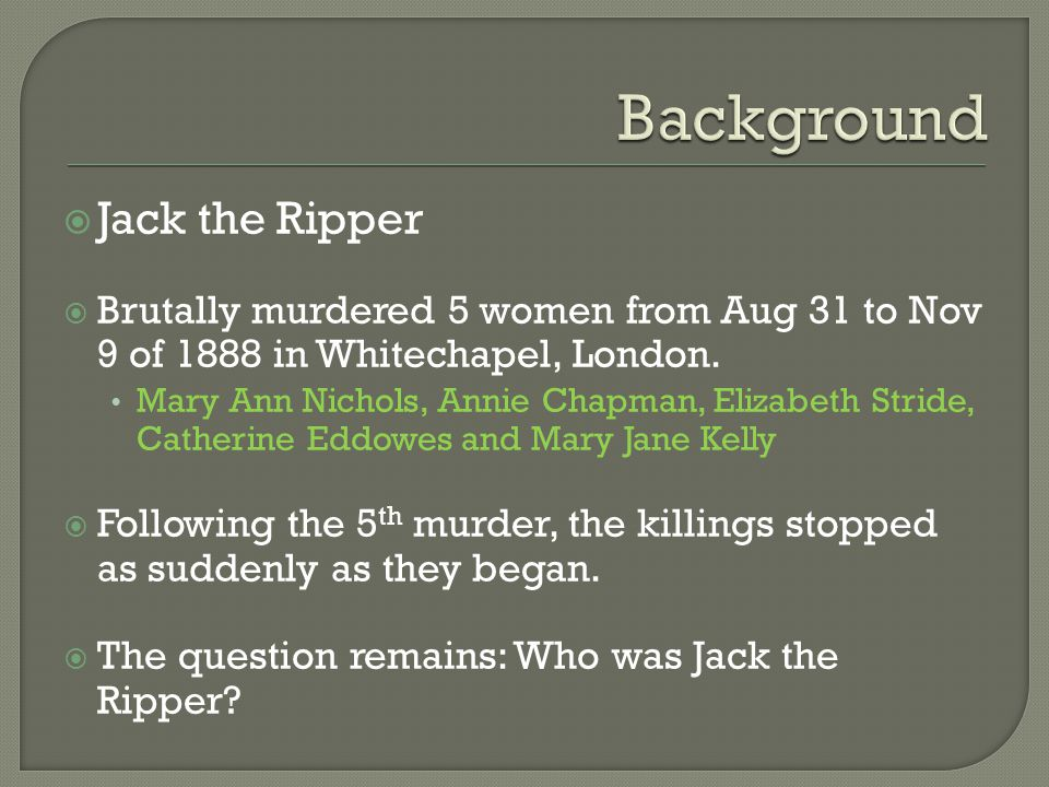 Background Jack the Ripper