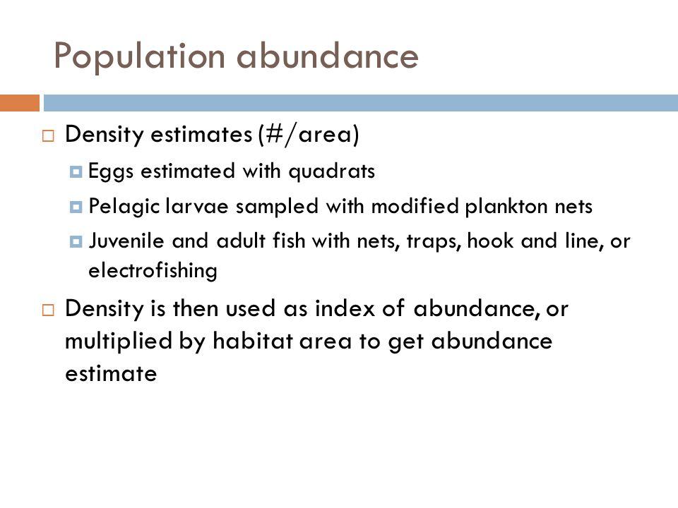Population abundance Density estimates (#/area)