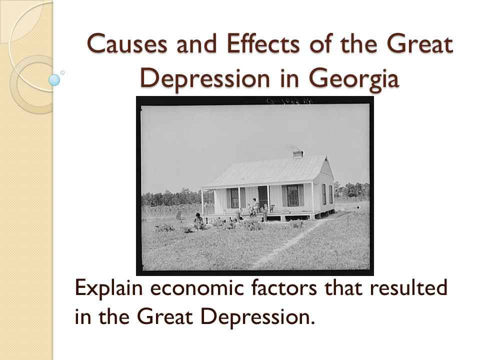 Causes and Effects of the Great Depression in Georgia