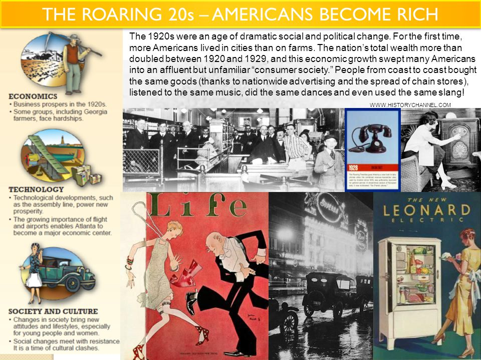THE ROARING 20s – AMERICANS BECOME RICH