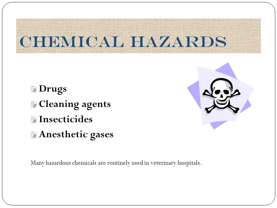 Chemical Hazards Drugs Cleaning agents Insecticides Anesthetic gases