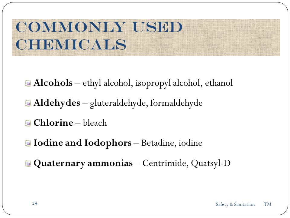 Commonly Used chemicals