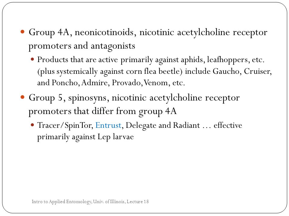 Group 4A, neonicotinoids, nicotinic acetylcholine receptor promoters and antagonists