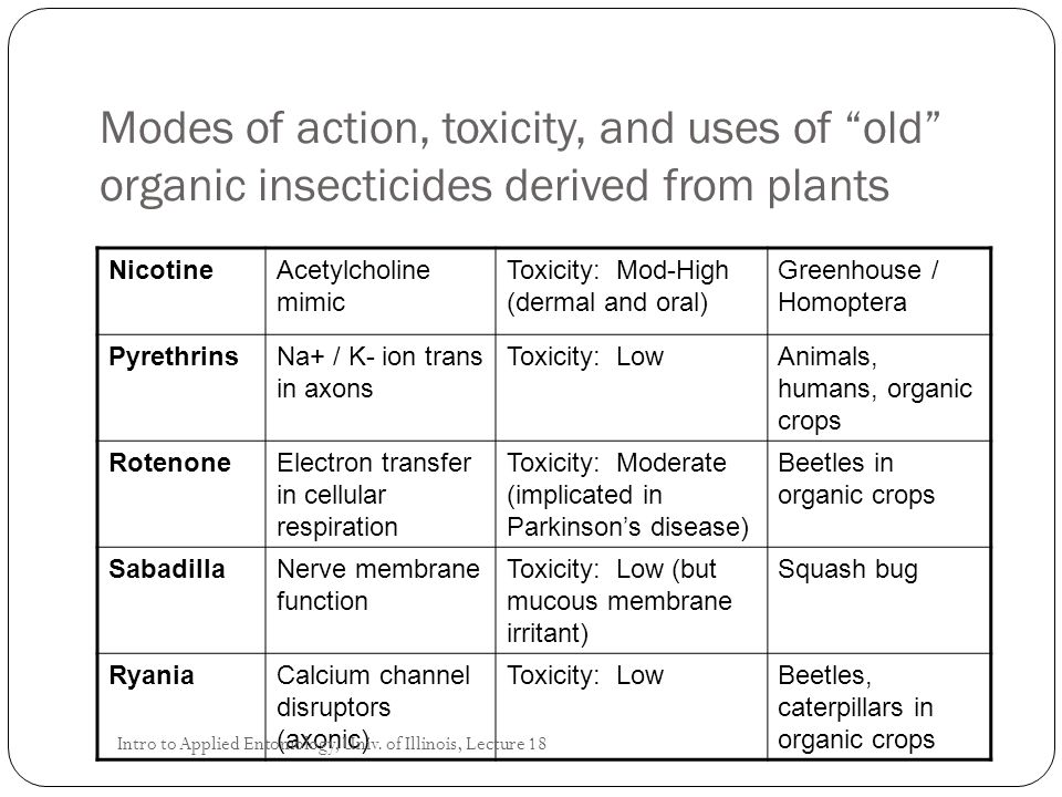 Modes of action, toxicity, and uses of old organic insecticides derived from plants