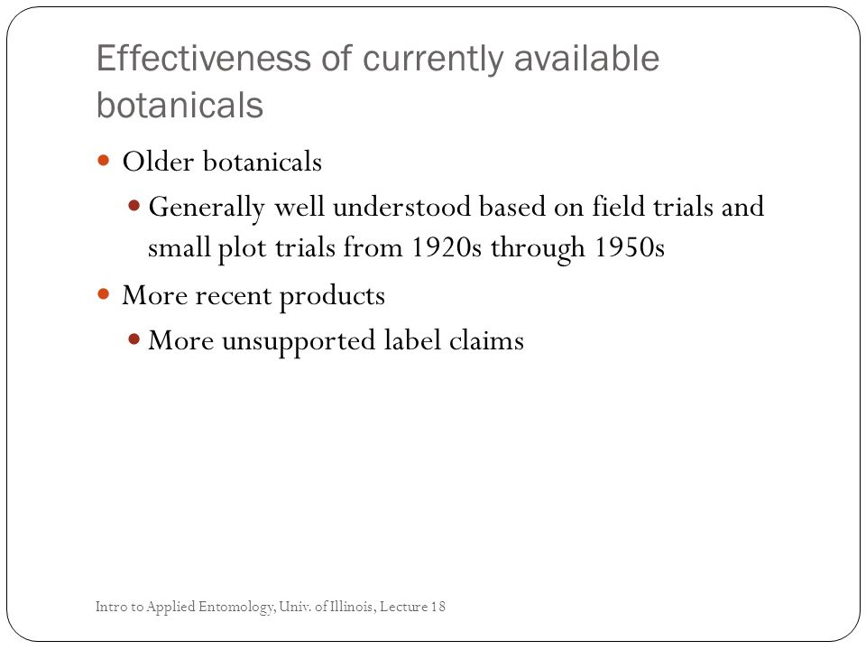 Effectiveness of currently available botanicals