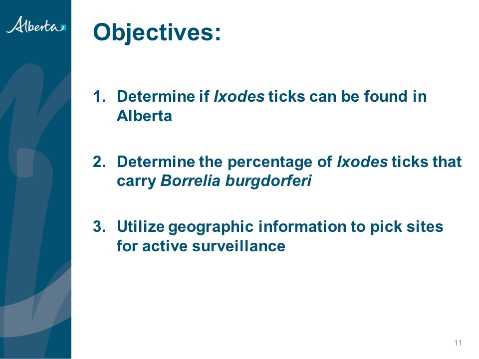 Objectives: Determine if Ixodes ticks can be found in Alberta