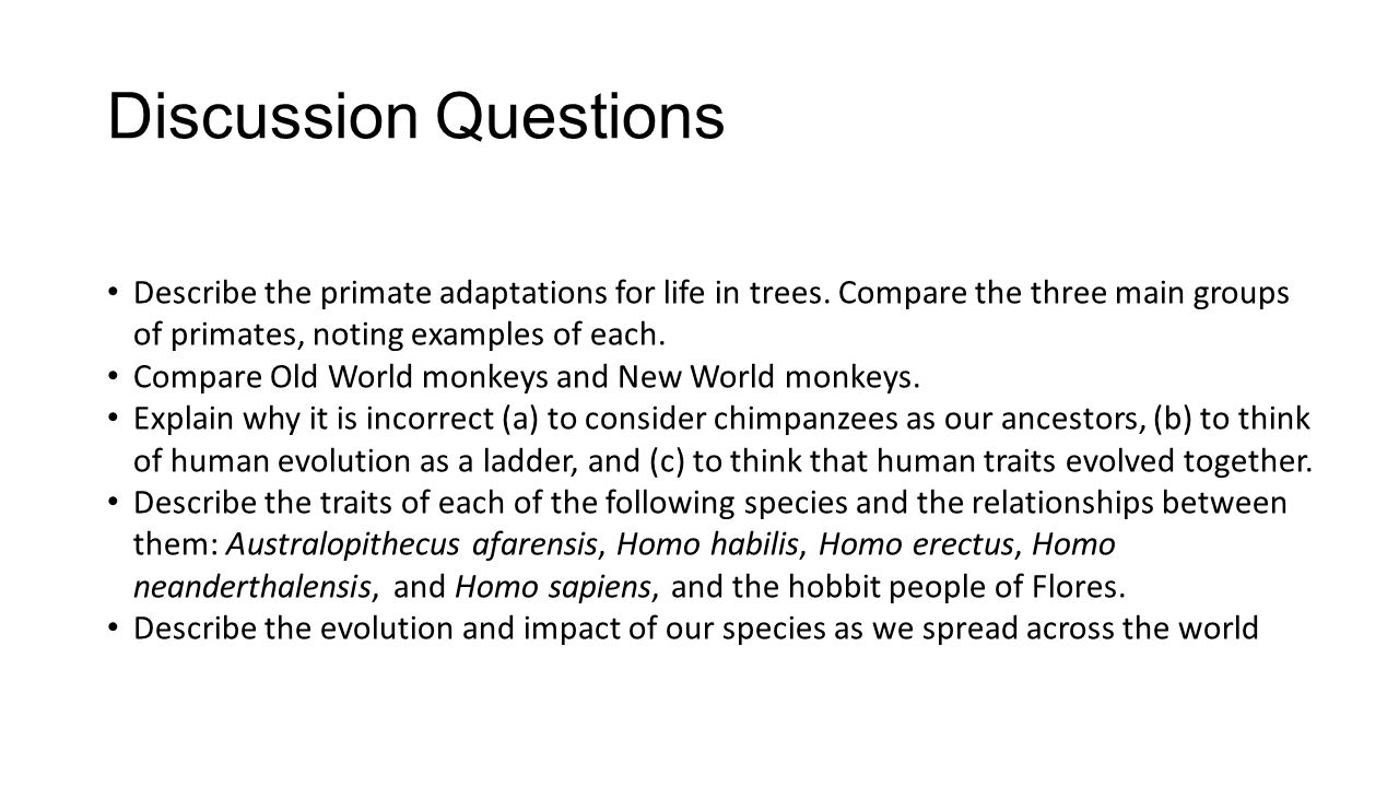 Discussion Questions Describe the primate adaptations for life in trees. Compare the three main groups of primates, noting examples of each.