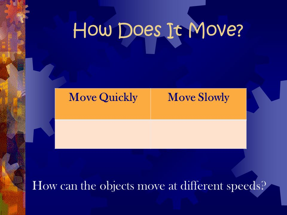 How can the objects move at different speeds