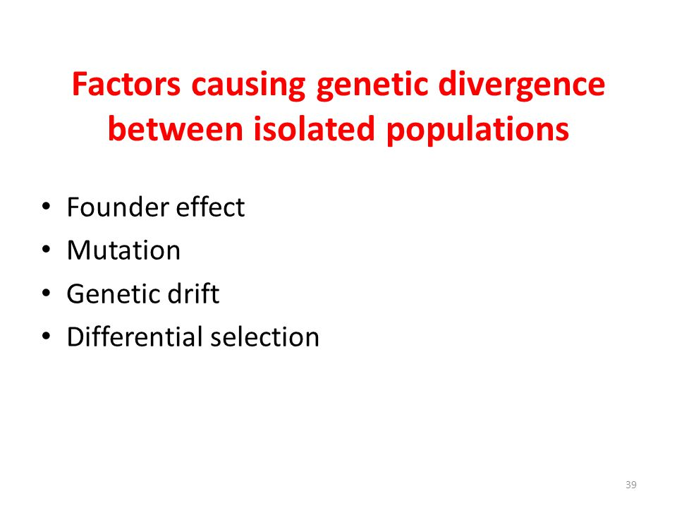 Factors causing genetic divergence between isolated populations