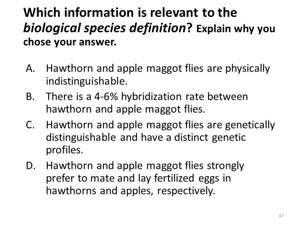 Which information is relevant to the biological species definition