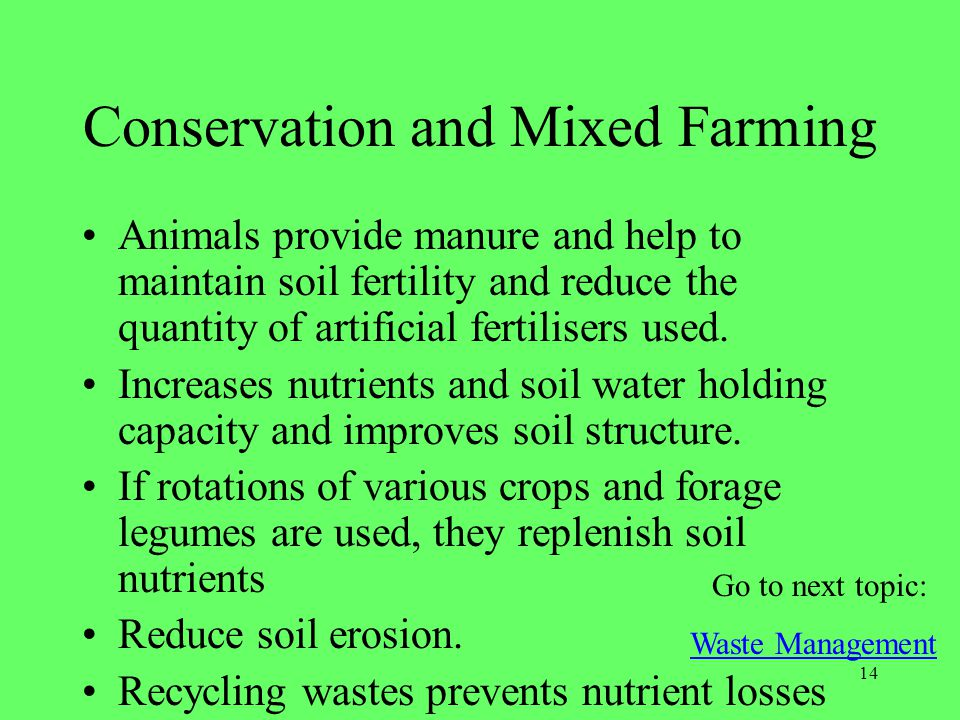 Conservation and Mixed Farming