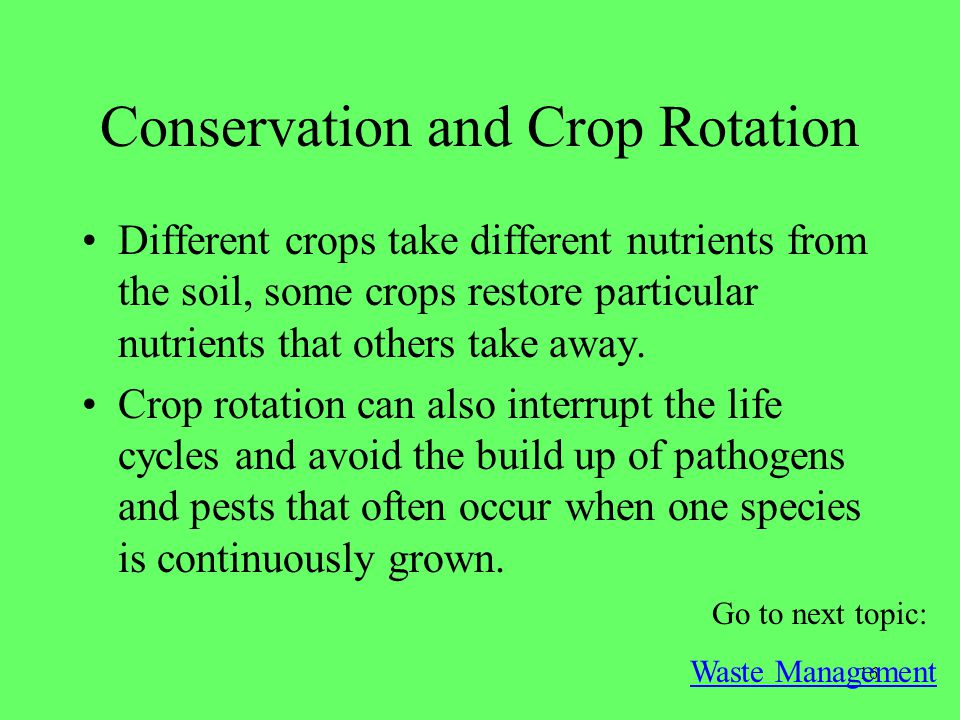 Conservation and Crop Rotation