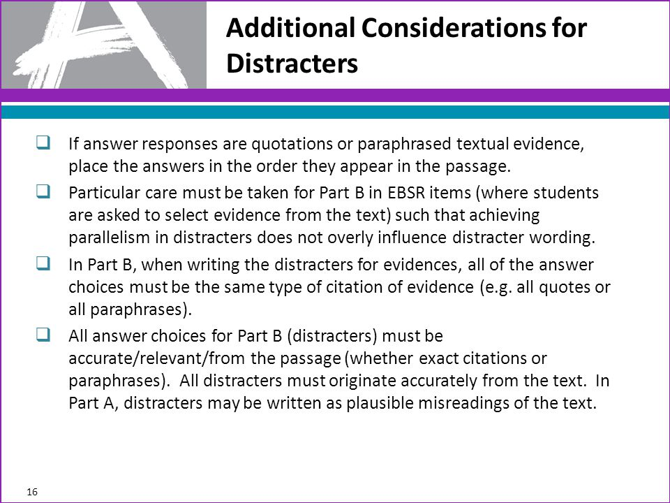 Additional Considerations for Distracters