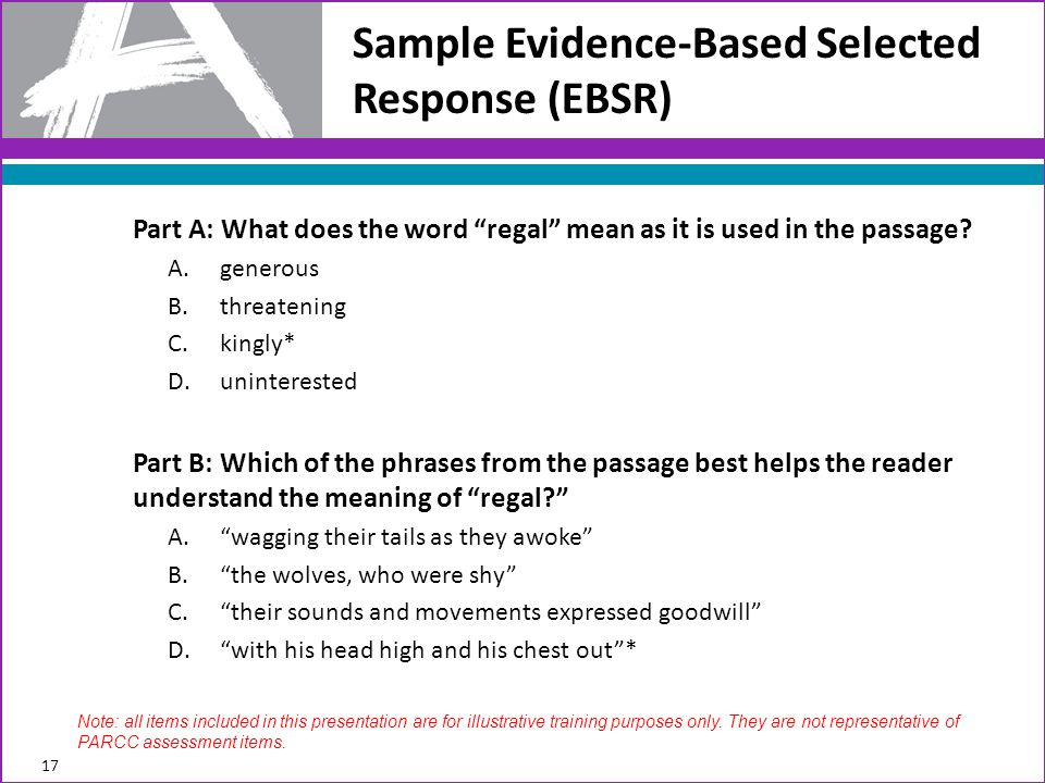 Sample Evidence-Based Selected Response (EBSR)