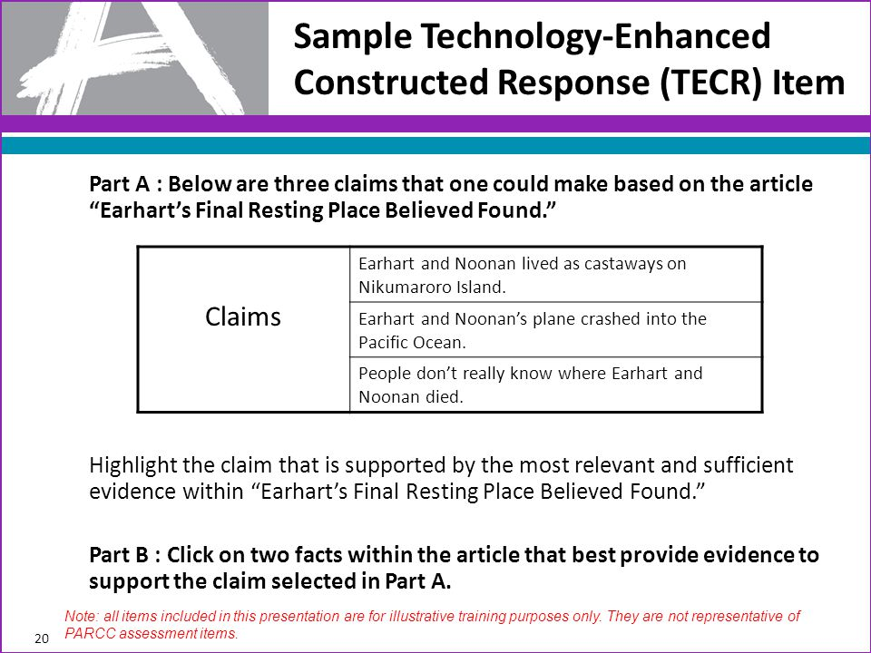 Sample Technology-Enhanced Constructed Response (TECR) Item