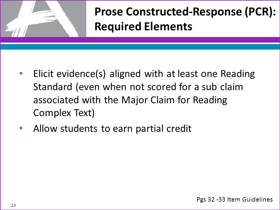 Prose Constructed-Response (PCR): Required Elements