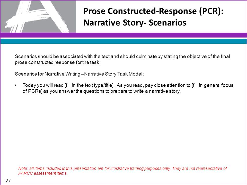 Prose Constructed-Response (PCR): Narrative Story- Scenarios